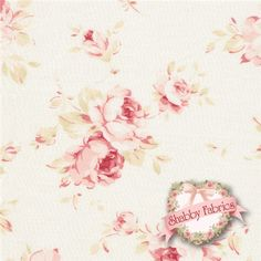 "Durham Quilt Revival 30819-030 By Lecien: Durham Quilt Revival is a collection by Lecien.  100% cotton.  43/44"" wide.  This fabric features medium pink rose bouquets on an off white background.  Made in Japan."