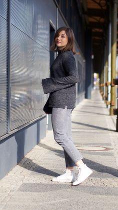 Outfit Streetstyle Bomberjacke Trompetenärmel Strick Herbst Look Blogger VANS