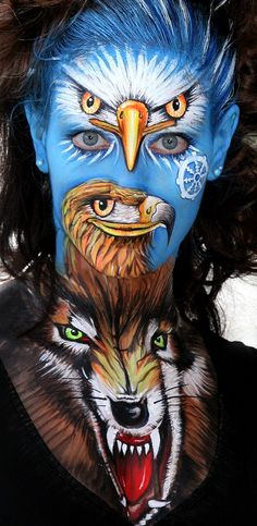 Heel bizar mooi!Facepainting by Evelina Iacubino. so much going on there