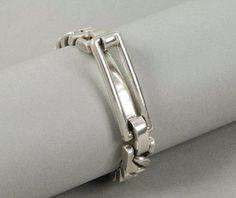 Hermès - Grande boucle - argent, maillons plats