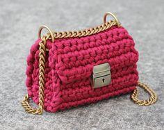 Crossbody shoulder chain bag | Crochet shoulder bag | Style handbag 2017 | Little elegant handbag with shoulder chain strap