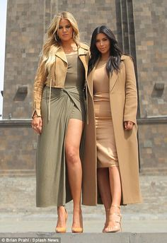 Strike a pose: Khloe and Kim Kardashian visited the sights of Yerevan, Armenia on Thursday during their first full day in the city after being greeted by huge crowds at the airport on Wednesday night