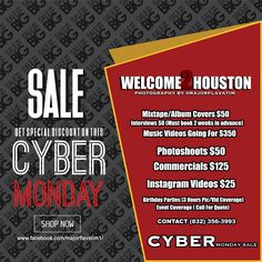 https://flic.kr/p/TjTZFp | #MONDAYCYBERSALE Houston Photographer | Flyers $50 Photoshoots $50 Commercials $125 Instagram Videos $25 Music Videos Going For $350  Interviews $0 (Must book 2 weeks in advance) Mixtape/Album Covers $50 Birthday Parties (3 Hours Pic/Vid Coverage) Event Coverage ( Call For Quote)   I'm So Houston Magazine is an online magazine that is distributed through websites and social media reaching a potential of millions, not only local but nationwide and international.The…