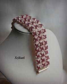 Beaded beige eggplant cuff bracelet Seed bead bracelet by Szikati