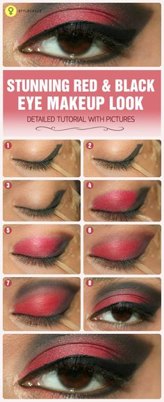 Want to try something new on your eyes? Now try this red and black eye makeup and make your eyes look more attractive and grab in ...