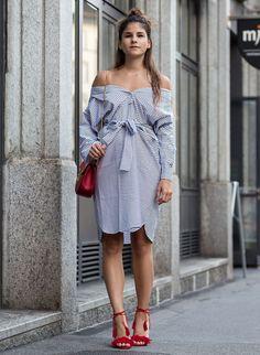look camisa listras como vestido street style