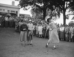 June 8, 1949 The Ladies' Professional Golf Association (LPGA), oldest women's professional sports org in the world, is formed. LPGS Co-Founder, Louise Suggs, at the tee.