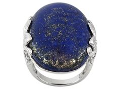 Oval Cabochon Lapis Lazuli Sterling Silver Ring