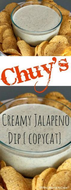 Chuys Creamy Jalapeno Dip copycat Who Needs A Cape pinned over times Yummy Appetizers, Appetizer Recipes, Snack Recipes, Cooking Recipes, Appetizer Party, Mexican Food Appetizers, Easy Dip Recipes, Cold Dip Recipes, Lasagna Recipes