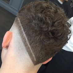 V-Shaped Razor Fade + Short Curly Hair on Top