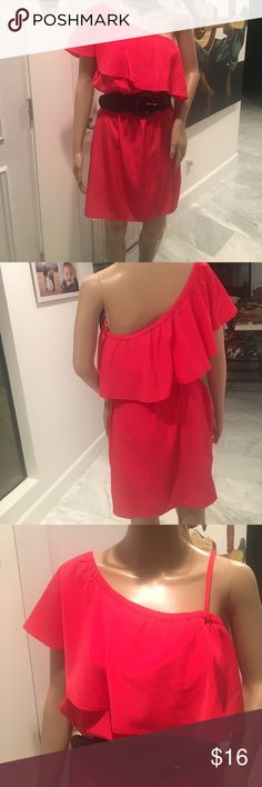 Red Express One Shoulder Dress Size Medium Worn only once. In great condition. Very light material. Perfect for Spring. Sexy and classy. Has removable strap for strapless side of dress as shown in picture. BELT NOT INCLUDED. Express Dresses One Shoulder