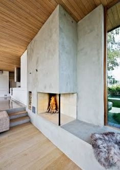 Concrete interior design bedrooms design and decoration design de casas Concrete Fireplace, Home Fireplace, Fireplace Design, Fireplaces, Fireplace Seating, Fireplace Hearth, Fireplace Ideas, Hanging Fireplace, Fireplace Candles