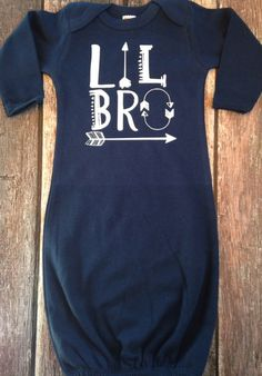 Infant Sleeper Gown Lil Bro or Lil Sis Hospital by PurplePossom