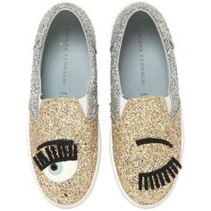 CHIARA FERRAGNI 30mm Flirting Glitter Slip-On Sneakers - Gold/Silver ($270) ❤ liked on Polyvore featuring shoes, sneakers, glitter platform shoes, pull on shoes, patent sneakers, patent leather sneakers and platform sneakers