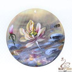 Artistic Pendant Hand Painted  Flower  Natural Black Lip Shell ZL301872 #ZL #Pendant