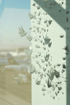 paper crane installation at DIA