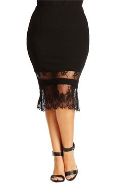 City Chic Lace Hem Midi Tube Skirt (Plus Size) available at #Nordstrom