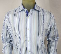 Tailorbyrd Mens Blue Multi-Striped Long Sleeve Casual Shirt Flip Cuffs Large #TailorByrd #ButtonFront