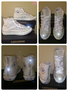 Women's All WHITE sparkly Glitter and swarovski by CrystalCleatss