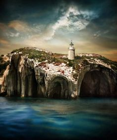 Caves and a lighthouse at Zakynthos Island, Greece