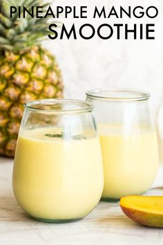 Easy mango smoothie loaded with fresh mango, pineapples, almond milk, yogurt and honey, blended until creamy and so filling. Pineapple Yogurt Smoothie, Mango Smoothie Healthy, Smoothie Recipes With Yogurt, Homemade Smoothies, Smoothies With Almond Milk, Best Smoothie Recipes, Good Smoothies, Fruit Smoothies, Smoothie Drinks