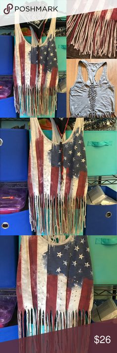 🇺🇸 Upcycled American rebel shredded tank top Easy Rider vibes! 🇺🇸 Ride out in one of a kind style for Fourth of July, your next concert or festival, or thrown on under your leather jacket for the weekend. Drapey lightweight slub studded graphic tank top, which I've customized to be a lot more badass...fringed and braided hem, braided panel down the back, effortless cool. Best fit for a small or medium, but it depends how tight or loose you like your tops! Tops Tank Tops