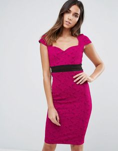 Vesper Pencil Dress With Contrast Waist Band - Pink Tube Dress, Pencil Dress, Tall Dresses, Formal Dresses, Wedding Guest Style, Frack, Dress Shapes, Bodycon Fashion, Dress Outfits