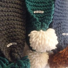 Two Tone Pom Pom Scarves available at Alice Maude Designs https://www.etsy.com/listing/255238310/two-colour-super-chunky-knit-wool-pom?ref=shop_home_active_17