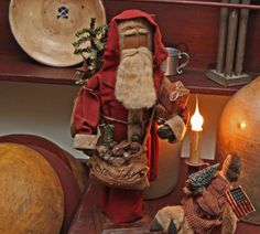 Olde Toys Santa by   Primitive Folk Artist Sue Corlett
