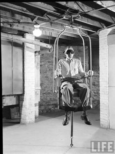 During stress, a patient would be strapped to a chair and whirled around rapidly, after which a normal patient would be dizzy but a psychotic will not (1949 Herbert Gehr)