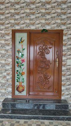 Single Main Door Designs, House Main Door Design, Wooden Front Door Design, Double Door Design, Glass Etching Designs, Glass Painting Designs, Modern Wooden Doors, Wood Doors, Simple False Ceiling Design