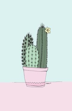 Cell Phone Background / Wallpaper Cactus illustrations by Irene Cabrera Lorenzo. There's something beautifully feminine about the style. Illustration Cactus, Landscape Illustration, Cactus Art, Paper Cactus, Cactus Flower, Poster S, Cacti And Succulents, Cactus Plants, Succulent Gardening