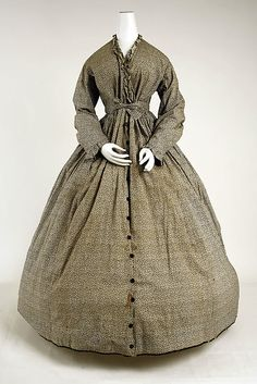 Cotton Dress 1845–65 American. I am thinking wrapper with self fabric belt and closed down the front