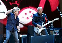 Musicians Roger Daltrey (L) and Pete Townshend of The Who perform during Desert Trip at the Empire Polo Field on October 16, 2016 in Indio, California.