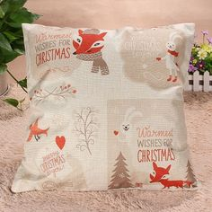 Christmas Series Pillow Cover Xmas Ambience Decorative Square Pillow Case Cartoon Santa Alphabet Owl Home Bed Supplies Gift Like and share if you think it`s fantastic! Visit our store