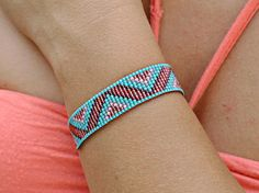 Bracelet woven with Miyuki beads - ethnic pattern style navajo - turquoise red transparent red Carmine pink gray tea - seed beads and nylon Loom Bracelet Patterns, Bead Loom Patterns, Peyote Patterns, Loom Bracelets, Jewelry Patterns, Beading Patterns, Bead Embroidery Patterns, Beaded Embroidery, Keyhole Back Wedding Dress
