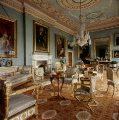 Pale blue painted Drawing Room with Adam style ceiling at Attingham Park. National Trust Images