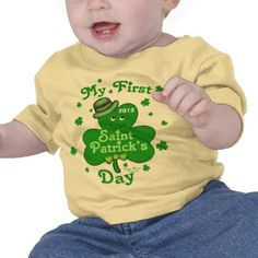 Custom Baby Boy's First St. Patrick's Day #Irish #StPatricksDay #zazzle #green #jamiecreates1 #firststpatricksday #Clover #TShirt #StPatricksDaytshirt #zazzle #jamiecreares1 #babyboy