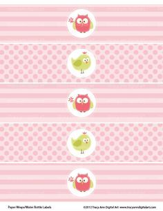Pink Printable Water Bottle Wraps Owl And Bird Party Paper Ribbons