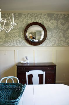 DINING ROOM - Like this look...Batten & Board (?), color and wallpaper