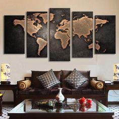 World Map in Black and Brown - 5 Piece Panel Art