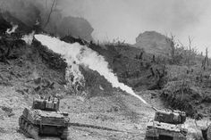 American tanks of the Army 7th Division using specially equipped flame throwers to burn Japanese defenders out of their caves and pillboxes, Okinawa, 1945.  Read more: 'Fury' in the Real World: Photos of Tank Warfare in World War II | LIFE.com http://life.time.com/history/fury-reality-of-tank-warfare-wwii-photos/#ixzz3HHO7uAky