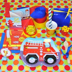 The Party Cupboard : Fireman Party Supplies : Fireman Firefighter Themed Partyware