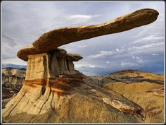 'Found It !!!':  King of Wings rock formation - photo by Mike Jones, via Flickr;  This formation is in the Bisti Badlands of New Mexico, and is difficult to find.  (Jones has an interesting story of how he located it.)