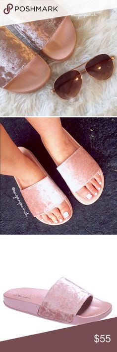 💖PRE-ORDER TODAY💖 Pink velvet slides with rubber sole! Super excited to get these in! Pre order starts NOW!💖 Sugar Punch Shoes Sandals