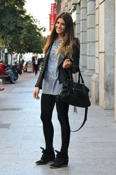 leather jacket | wedge sneakers