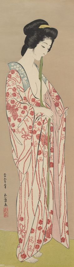 "vintage geisha art: ""Woman Dressing"" by artist Hashiguchi Goyô, ca Japan. Ukiyo-e Polychrome woodblock print; ink and color on paper (via The Kimono Gallery) Japanese Art Prints, Japanese Painting, Chinese Painting, Woodblock Print, Art Occidental, Art Asiatique, Art Japonais, Japan Art, Osaka Japan"