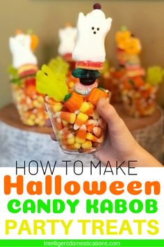 Make these grab and go Halloween Party Treats! Our Candy Kabobs are easy to make with wooden candy sticks, marshmallow ghosts and gummy candies! Fun Easy Recipes, Candy Recipes, Fall Recipes, Holiday Recipes, Holiday Treats, Delicious Recipes, Dessert Recipes, Halloween Party Treats, Halloween Candy