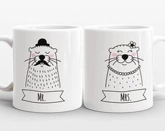 Artículos similares a Set of 2 MR and MRS Mugs Set, Cat Unicorn Couple Mugs, Unique Mr and Mrs Gift, Couples Gift, Wedding Gift, Coffee Mugs, Animal Coffee Mugs en Etsy Couple Mugs, Couple Gifts, Unicorn Cat, Gift Wedding, Mugs Set, Porcelain, Etsy, Animal, Coffee