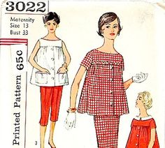 Maternity Sewing Pattern Vintage Simplicity 3022 1950s Skirt Capri Pants Blouse Shirt Size 13 Bust 33